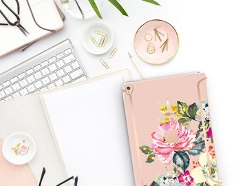"Dust Stom Flowerly Collection Bold Rose Gold Accents   Smart Keyboard compatible Hard . iPad Air 10.5"" . iPad Mini 5 . iPad Pro 10.5"""