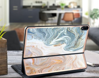 "Brown and Nacre Marble and Rose Gold Vinyl Skin Decal - Apple Smart Keyboard Folio iPad Pro 11"" . iPad Pro 12.9"" . iPad Air 10.5"