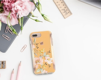 Macaroni and Cheese Flowerly Collection and Rose Gold Hard Case Otterbox Symmetry. iPhone X . iPhone Xs Max . iPhone XR . iPhone 8 Monogram