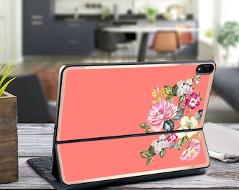 "Vintage Vibe Tea Rose and Rose Gold Vinyl Skin Decal - Apple Smart Keyboard Folio iPad Pro 11"" . iPad Pro 12.9"" . iPad Pro 2020 . Monogram"