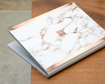 Bianco Sivec Gold Marble and Rose Gold Edge Vinyl Skin  Microsoft Surface Book 2 , Surface Laptop 2 , Surface Pro 6  . Surface Go . Monogram