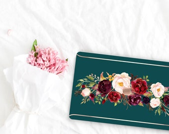 Light Moss Green Flowerly Collection Leather Macbook Case . Distinctive Macbook Hard Case and Rose Gold . Macbook Pro 13 Case . Monogram