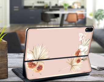 "Boho Tropics French Rose and Rose Gold Vinyl Skin Decal - Apple Smart Keyboard Folio iPad Pro 11"" . iPad Pro 12.9"" . iPad Pro 2020  Monogram"