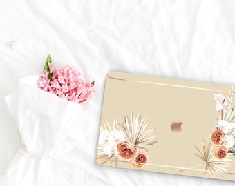 Bone Flowerly Collection Leather Macbook Case . Distinctive Macbook Hard Case and Rose Gold . Macbook Pro 13 Case A2159  . Custom Monogram