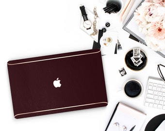 Leather Oxblood and Thin Rose Gold Accents Macbook Hard Case . Hand-Made Macbook Hard Case   . Macbook Air 13 2018 A1990 . A1990
