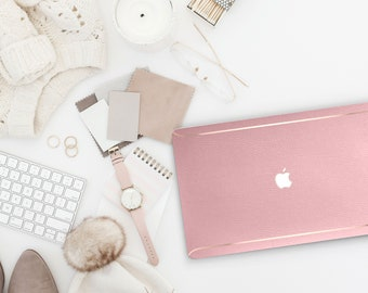 Leather Rococo Pink and Thin Rose Gold Accents Macbook Hard Case . Hand-Made Macbook Hard Case  Macbook Air 13 2018 A1990 . A1990