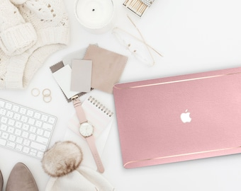 Leather Rococo Pink and Thin Rose Gold Accents Macbook Hard Case . Hand-Made Macbook Hard Case . Macbook Pro 13 Case Macbook Air 13 2018