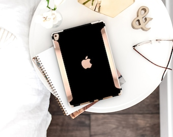 "iPad Case    Elegant Black and Rose Gold for the  , 97"" Smart Keyboard Compatible Hard Case. iPad Air 10.5"" . iPad Mini 5 . iPad Pro 10.5"""