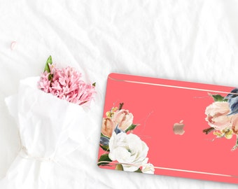 Light Coral Flowerly Collection Leather Macbook Case . Distinctive Macbook Hard Case and Rose Gold . Macbook Pro 13 Case . Custom Monogram