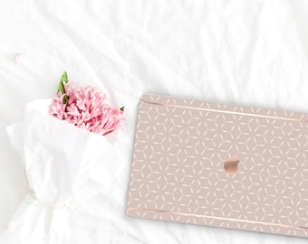 Pale Silver Pattern Collection Leather Macbook Case . Distinctive Macbook Hard Case and Rose Gold . Macbook Pro 13 Case . Custom Monogram