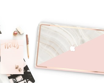 Marble Stone  Pink       . Distinctive Macbook Hard Case and Bold Rose Gold Accents . Macbook Pro 13 Case A2159  . Custom Monogram