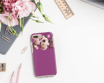 Razzmic Berry Flowerly Collection and Rose Gold Hard Case Otterbox Symmetry. iPhone X . iPhone Xs Max . iPhone XR . iPhone 8 . Monogram