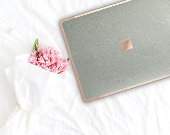Light Pistachio and Rose Gold Edge Vinyl Skin Microsoft Surface Book 2 , Surface Laptop 2 , Surface Pro 6 . Surface Go . Monogram