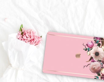 Pink Flowerly Collection Leather Macbook Case . Distinctive Macbook Hard Case and Rose Gold . Macbook Pro 13 Case A2159  . Custom Monogram