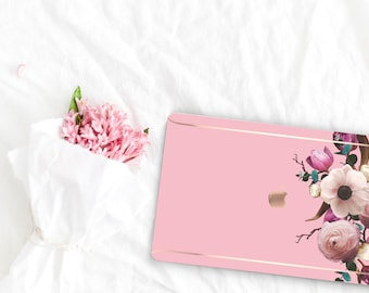 Pink Flowerly Collection Leather Macbook Case . Distinctive Macbook Hard Case and Rose Gold . Macbook Pro 13 Case . Custom Monogram