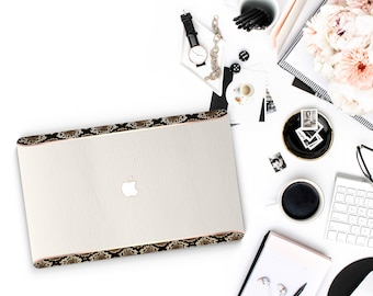 Leather Cream and Snake Edge Accents Macbook Hard Case . Hand-Made Macbook Hard Case with Thin Rose Gold Accents . Macbook Pro 13 Case