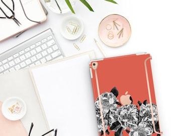 "Burnt Orange Flowerly Collection Bold Rose Gold Accents   Smart Keyboard compatible Hard . iPad Air 10.5"" . iPad Mini 5 . iPad Pro 10.5"""
