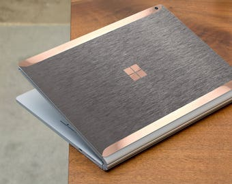 Brushed Gray and Rose Gold Edge Vinyl Skin  Microsoft Surface Book 2 , Surface Laptop 2 , Surface Pro 6  . Surface Go . Monogram