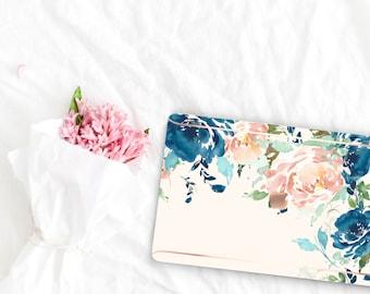 White Chalk Flowerly Collection Leather Macbook Case . Distinctive Macbook Hard Case and Rose Gold . Macbook Pro 13 Case . Custom Monogram