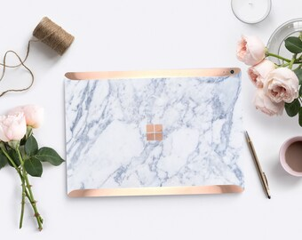 Makrana White Marble with Rose Gold Edge Vinyl Skin  Microsoft Surface Pro X , Surface Laptop 3 , Surface Pro 7. Surface Go . Surface Book 3