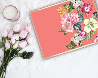 Tea Rose Flowerly Collection and Rose Gold Edge Vinyl Skin Microsoft Surface Pro X , Surface Laptop 3 , Surface Pro 7  Surface Go