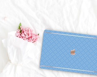 Light Cobalt Blue Pattern Leather Macbook Case . Distinctive Macbook Hard Case and Rose Gold . Macbook Pro 13 Case A2159  . Custom Monogram