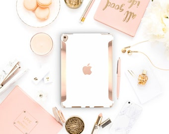 "Elegant White iPad Case . iPad Pro 10.5 . Rose Gold .iPad Pro 12.9"" Apple Smart Keyboard compatible Hard Case"