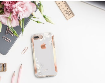 Brushed Minimalist Light Sketchy Florals and Rose Gold Hard Case Otterbox Symmetry . iPhone X . iPhone Xs Max . iPhone XR .  . iPhone 11