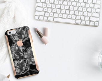 Black Rose wRose Gold   Hard Case Otterbox Symmetry              . iPhone X . iPhone Xs Max . iPhone XR . iPhone 8 . PopSocket
