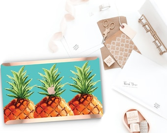 PineApple Teal Aqua and Rose Gold . . Distinctive Macbook Hard Case and Bold Rose Gold Accents . Macbook Pro 13 Case . Custom Monogram
