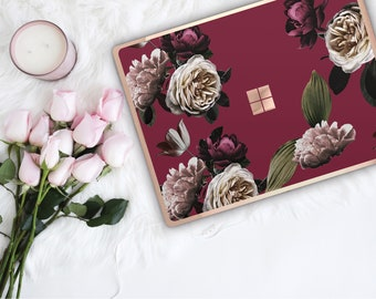 Wine Flowerly Collection and Rose Gold Edge Vinyl Skin Microsoft Surface Pro X , Surface Laptop 3 , Surface Pro 7 . Surface Book 3