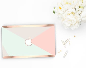 Pastel Shades                 . Distinctive Macbook Hard Case and Bold Rose Gold Accents . Macbook Pro 13 Case A2159  . Custom Monogram