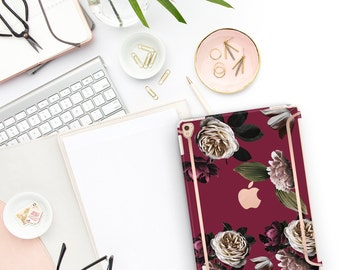 """Wine Flowerly Collection Bold Rose Gold Accents   Smart Keyboard compatible Hard . iPad Air 10.5"""" . iPad Mini 5 . iPad Pro 10.5"""""""