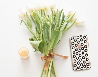 Minimalist Dot and Rose Gold Hard Case Otterbox Symmetry                 . iPhone X . iPhone Xs Max . iPhone XR . iPhone 8 . PopSocket