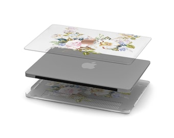 Jaden Vintage Floral Crystal Clear Transparent Macbook Case . Distinctive Macbook Hard Case and Rose Gold Apple . Macbook Pro 13 Case