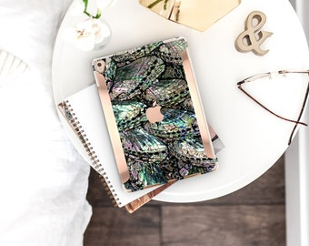 "Colorful Abalone Shell Medley iPad Case and Rose Gold Detailing iPad Pro 12.9"" . iPad Pro 10.5 . Smart Keyboard Compatible Hard Case"