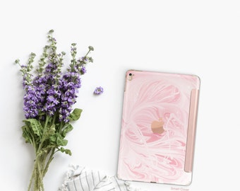 "Pink Marble Swirl and Rose Gold Smart Cover Hard Case for      iPad 9.7 2018  .  iPad Pro 12.9 2018 . iPad Pro 11"" . iPad Air 10.5"""