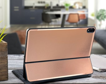 "Leather Rose Gold with Satin Rose Gold Vinyl Skin Decal for Apple Smart Keyboard Folio iPad Pro 11"" . iPad Pro 12.9"" . iPad Pro 2020 Magic"