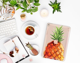 "Pineapple with Rose Gold Smart Cover Hard Case for the   .  iPad 9.7 2018      .  iPad Pro 12.9 2018 . iPad Pro 11"" . iPad Air 10.5"""