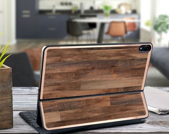 "Dark Wood and Rose Gold Vinyl Skin Decal - Apple Smart Keyboard Folio iPad Pro 11"" . iPad Pro 12.9"" . iPad Air 10.5"""