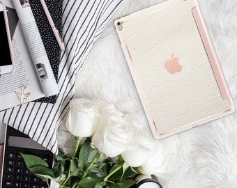 """White Chalk Leather with Rose Gold Smart Cover Hard Case . Kate Spade Inspired.  iPad Pro 12.9 2018 . iPad Pro 11"""" . iPad Air 10.5"""""""