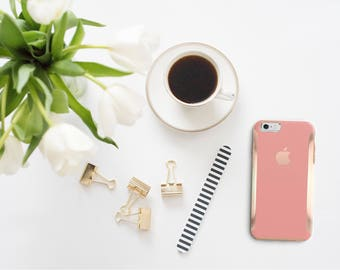 Yucatan Pink and Rose Gold Hard Case Otterbox Symmetry              . iPhone X . iPhone Xs Max . iPhone XR . iPhone 8 . iPhone 11