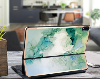 "Green Turquoise Ink Marble and Rose Gold Edge Vinyl Skin Decal for Apple Smart Keyboard Folio iPad Pro 11"" . iPad Pro 12.9"" . Monogram"
