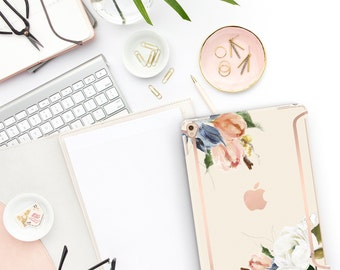 "Alabaster Flowerly Collection Bold Rose Gold Accents   Smart Keyboard compatible Hard . iPad Air 10.5"" . iPad Mini 5 . iPad Pro 10.5"""