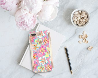 Brushed Hibiscus Rosa and Rose Gold   Lilly Pulitzer Inspired   Hard Case Otterbox Symmetry  iPhone Xs   iPhone 11 Pro Max   iPhone XR