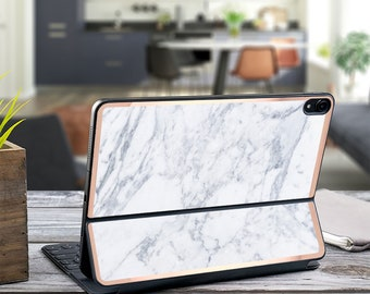 "Makrana Marble and Rose Gold Vinyl Skin Decal - Apple Smart Keyboard Folio iPad Pro 11"" . iPad Pro 12.9"" . iPad Air 10.5"" . Custom Monogram"