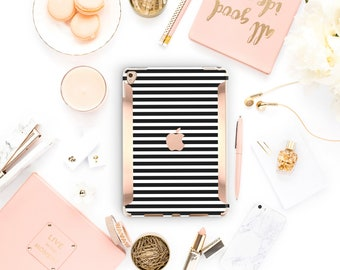 "Black Stripes iPad Case . iPad Pro 10.5 . Kate Spade Inspired . Rose Gold .iPad Pro 12.9"" Apple Smart Keyboard compatible Hard Case"