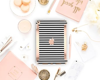 "iPad Black Stripes  Kate Spade Inspired  Rose Gold  Apple Smart Keyboard compatible Hard  . iPad Air 10.5"" . iPad Mini 5 . iPad Pro 10.5"""