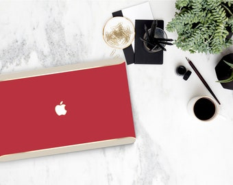 Red and Cream Accent . Duo Tone . Distinctive Macbook Hard Case and Bold Rose Gold Accents . Macbook Pro 13 Case . Custom Monogram