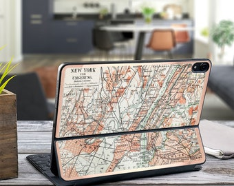 "Old New York City Map and Rose Gold Vinyl Skin Decal - Apple Smart Keyboard Folio iPad Pro 11"" . iPad Pro 12.9"" . iPad Air 10.5"" . Monogram"